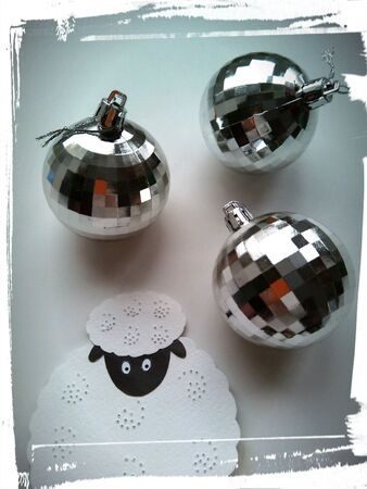 silver: Christmas decorations sheep and balls picture