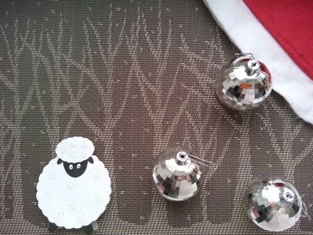 silver: Christmas decorations sheep and balls on a trees