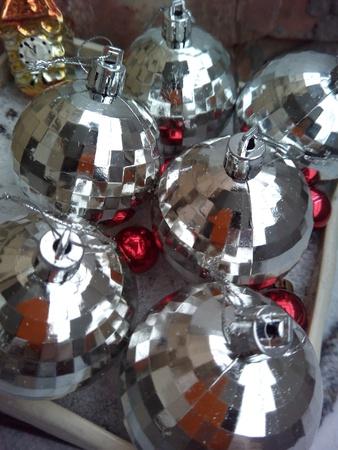 silver: Christmas decorations balls  Stock Photo