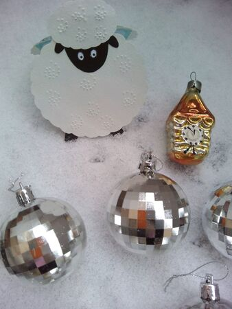 silver: Christmas decorations sheep and balls snow  Stock Photo