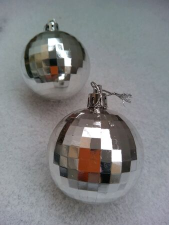 silver: Christmas decorations two silver balls snow