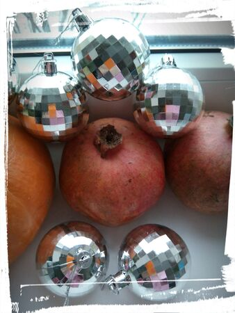 silver: Christmas balls and pomegranate picture