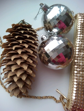 pine cone: Pine cone and christmas balls