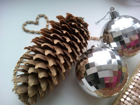 shiny: Pine cone and christmas balls decorations