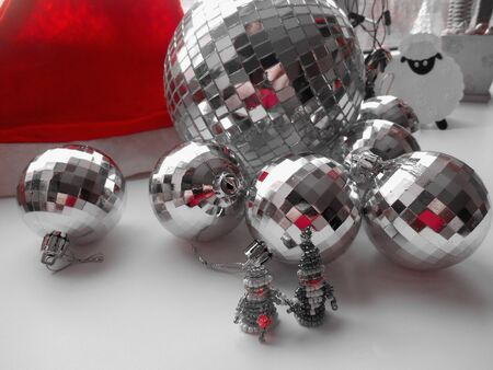 'snow maiden': Santa Claus and Snow Maiden on a balls background