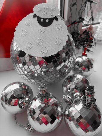 snow maiden: Santa Claus and Snow Maiden on a balls background