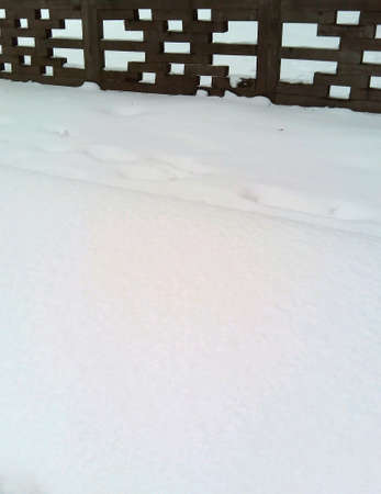 fence: Wooden fence and snow background