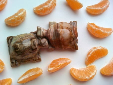 turtles love: Two turtles of onyx on a tangerines cloves white background Stock Photo
