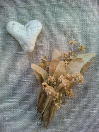 decor: Decor white heart stone and dry flowers