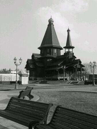 black: Church landscape black and white  Stock Photo