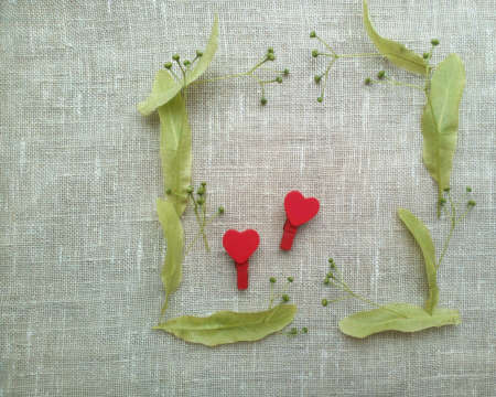 decor: Green frame red hearts natural