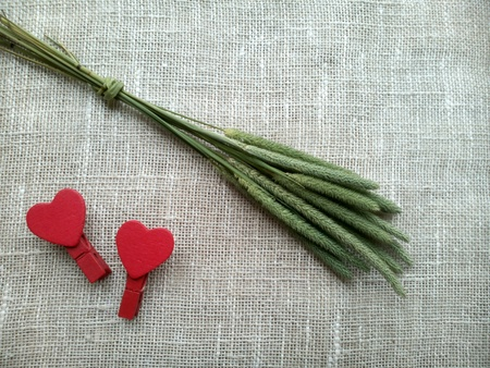 decor: Green spikelets and red hearts natural