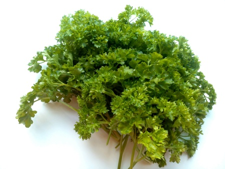 the greens: Greens parsley on a white background Stock Photo