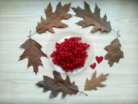 bright: Red currant berries and leaves on a bright wooden beautiful background Stock Photo