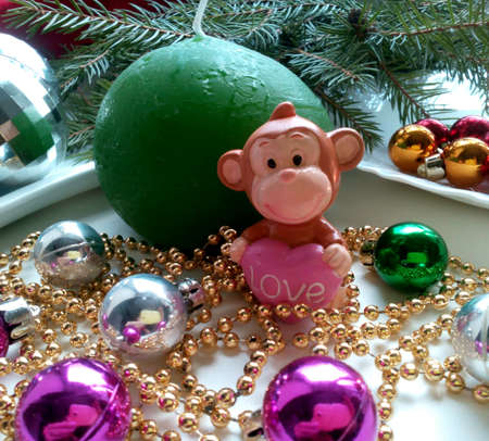 silver: New years and christmas decorations monkey and balls