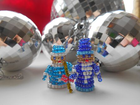 snow maiden: Santa Claus and Snow Maiden Christmas decorations of beads and balls