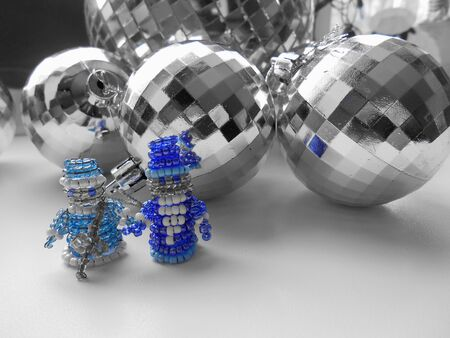 snow maiden: Santa Claus and Snow Maiden Christmas decorations and balls Stock Photo