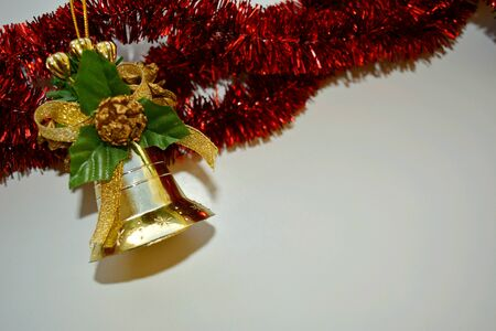 christmas decorations with white background: Christmas and New Year decorations bell on a white background