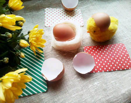 decor: Easter eggs and chicken on a natural beautiful background