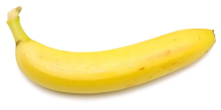 cleared: banana cleared of a peel isolated on a white  Stock Photo