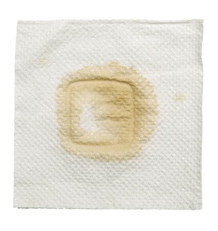 white napkin: napkin with stain isolated  on a white