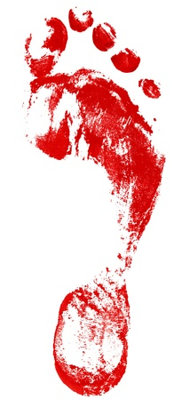 dirty feet: red footprint isolated on a white