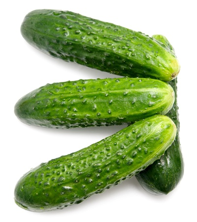 four cucumbers isolated on white Stock Photo - 16324484