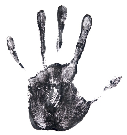 black hand print on a white Stock Photo - 16324538