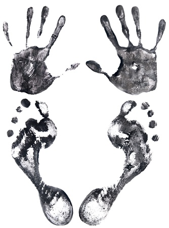 two black handprints and footprints isolated on a white photo
