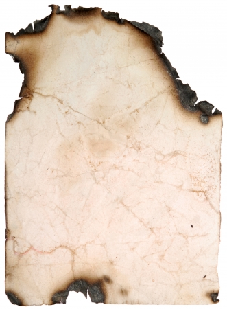 vintage old paper page with burnt edges on a white Imagens