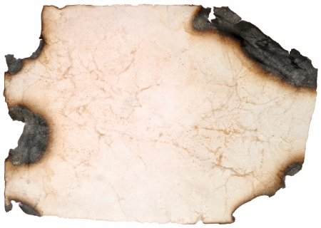 burning paper: vintage old paper page with burnt edges on a white Stock Photo