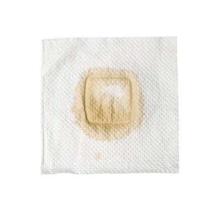 napkin with stain isolated on a white Stock Photo - 16699379