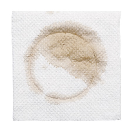 cruddy: napkin with stain isolated  on a white