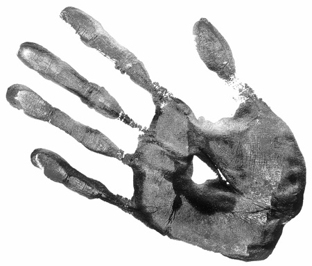 blood stain: black hand print on a white