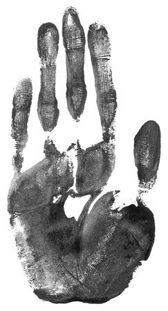 manos sucias: impresión de la mano negro sobre blanco