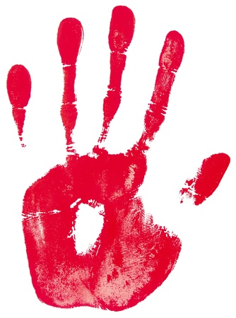 red hand print on a white photo