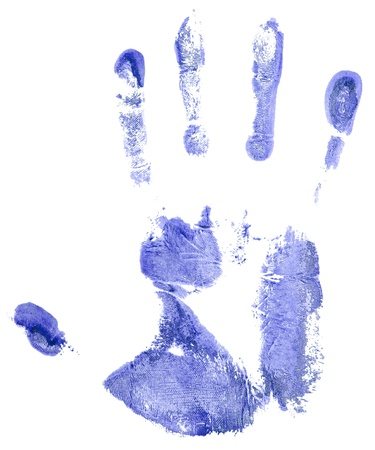 blue hand print on a white Stock Photo