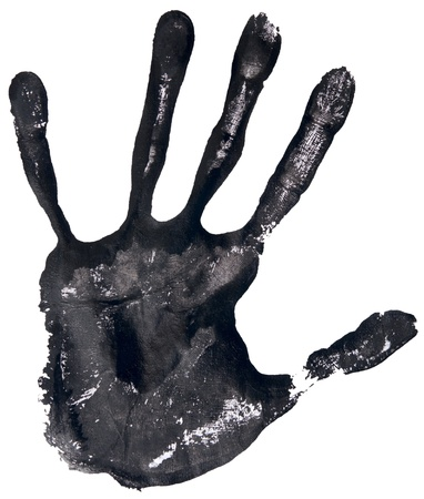 black hand print on a white Stock Photo - 16700573