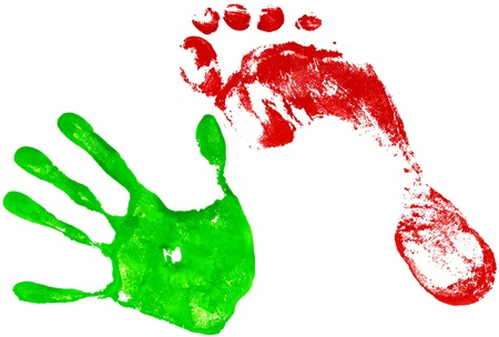 green handprint and red footprint on a white photo