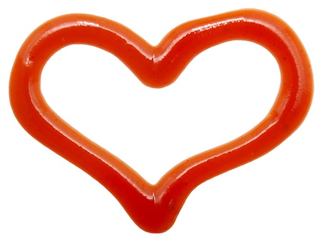 heart of ketchup isolated on white background  photo