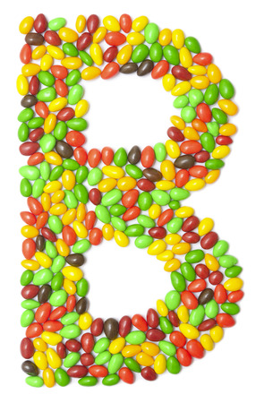 multicolored chocolate letter B isolated on white Stock Photo