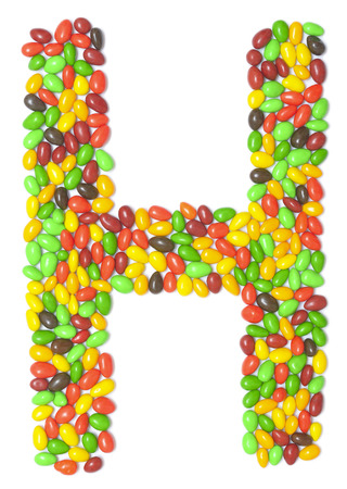 multicolored chocolate letter H isolated on white Stock Photo
