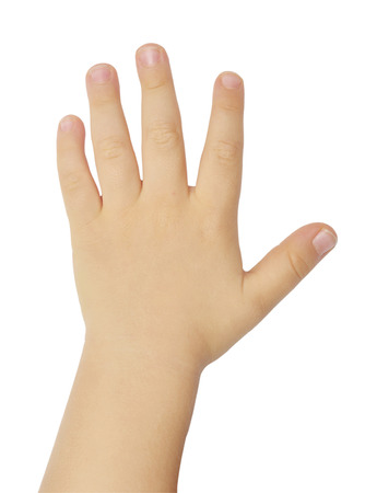 childs hand isolated on white background