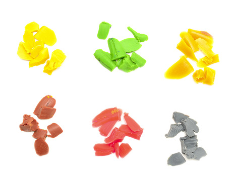 childrens plasticine isolated on white background