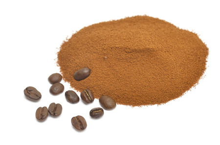 coffee powder isolated on white background photo