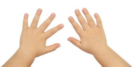 childrens hands isolated on white background