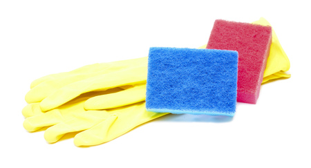 rubber gloves, sponges isolated on a white background photo