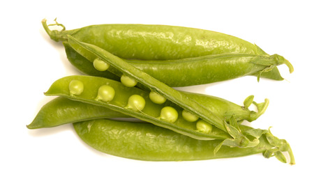 pea pods isolated on white background