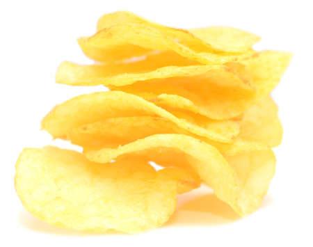 no cholesterol: potato chips isolated on white background