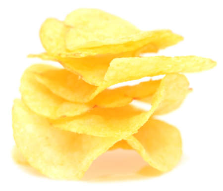 junk food: potato chips isolated on white background
